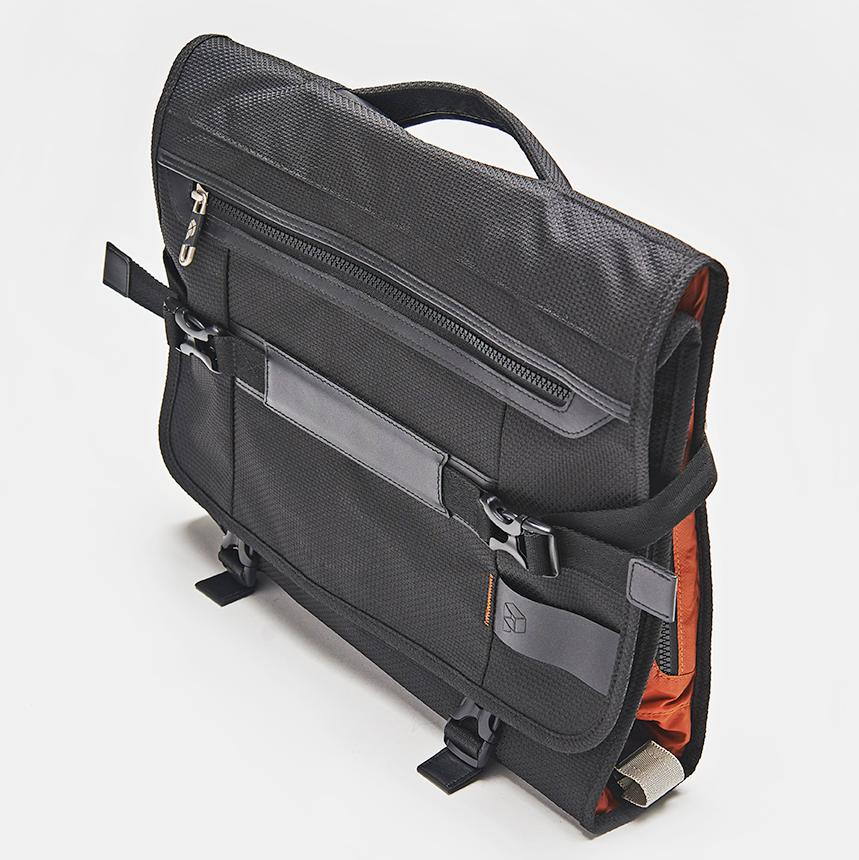 The PLIQO Bag viewed from a top diagonal angle in a studio setting.